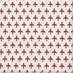 Ecokatoen wit met rood motief