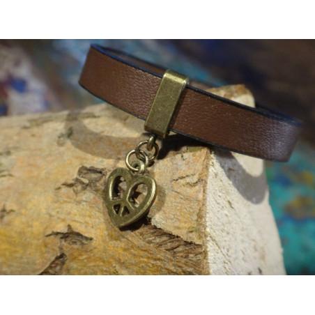 Armband faux leer met brons