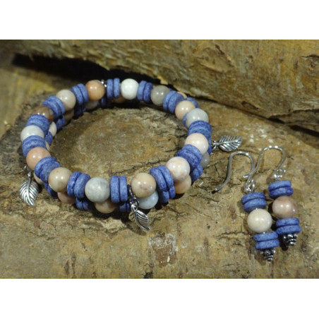 Armband van half-edelsteen en keramiek