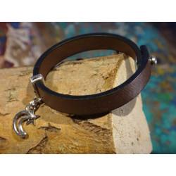 Armband van faux leer en zilver