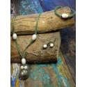 Unica sieraad set van zilver, brons en hout
