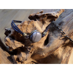 armband van waxkoord met brons en steen